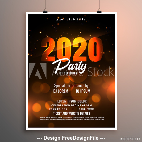 Red 2020 digital christmas party flyer template vector