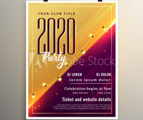 Red and gold Merry Christmas party flyer template design vector