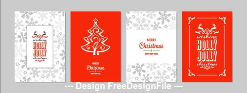 Red and white background Christmas greeting card collection vector
