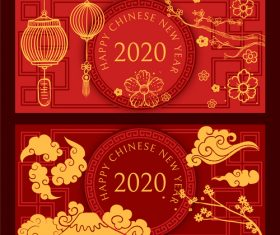 Red background 2020 rat new year banner vector