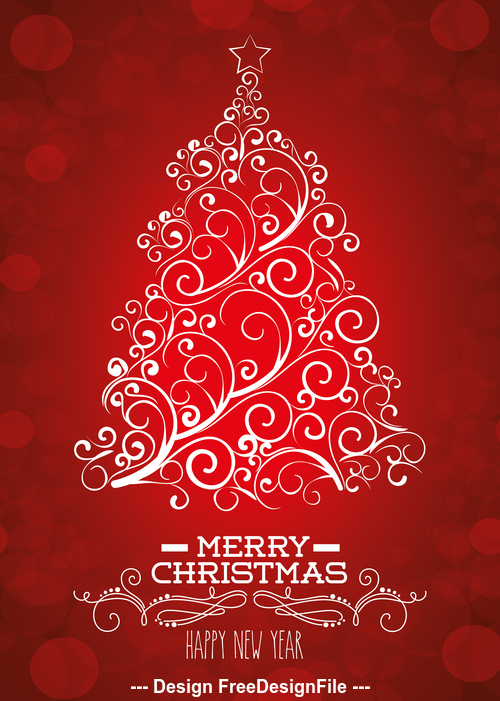 Red background abstract christmas tree vector