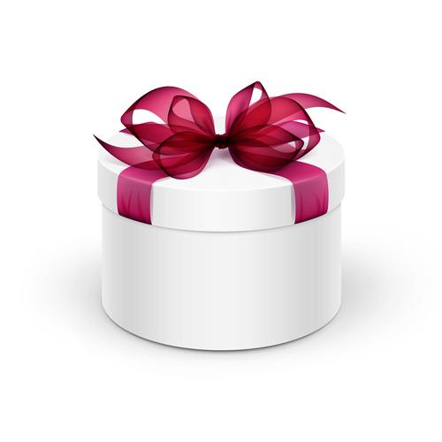Red ribbon holiday gift box vector