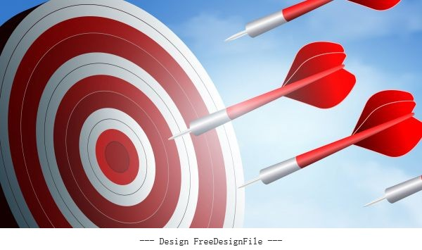 Red arrows competition darts go to target business success goal creative idea illustration vector