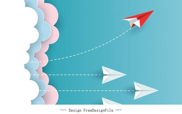 Red paper plane changing direction from white up to sky new idea different business concepts courage to risk leadership illustration cartoon vector
