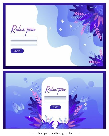 Relax time banners flowers colored vector