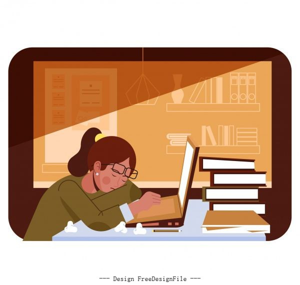 Research background sleepy student book stack cartoon vector