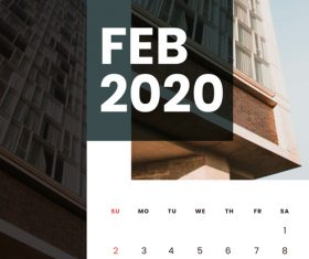 Residential high-rise building cover 2020 calendar vector 02