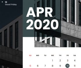 Residential high-rise building cover 2020 calendar vector 04