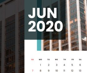 Residential high-rise building cover 2020 calendar vector 06
