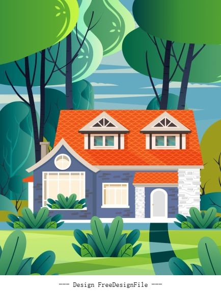 Residential painting house bright colorful vector