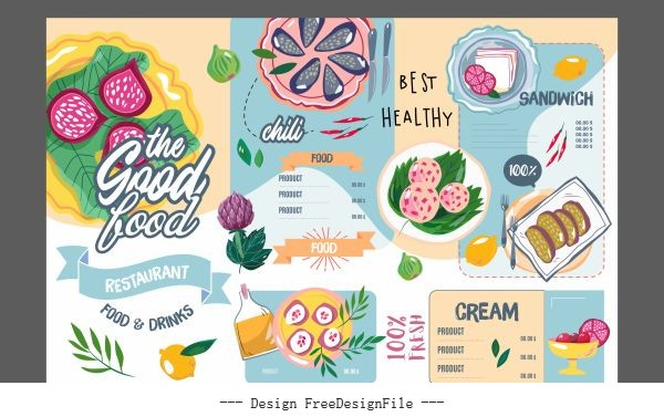 Restaurant menu template colorful flat retro handdrawn vector