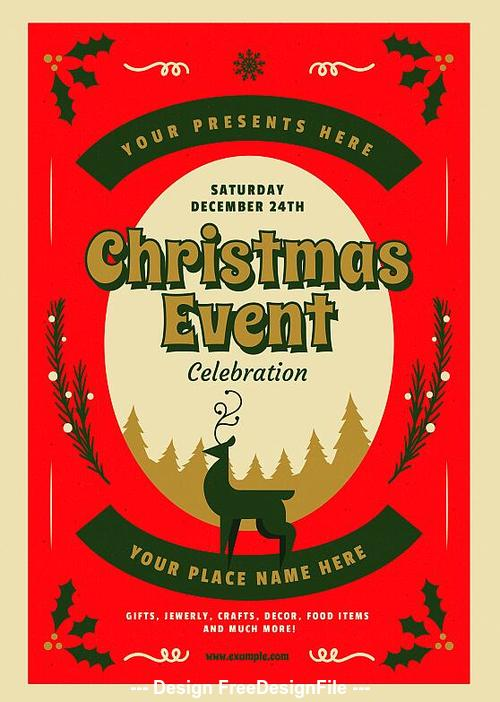 Retro Christmas Party Event Flyer Psd Template