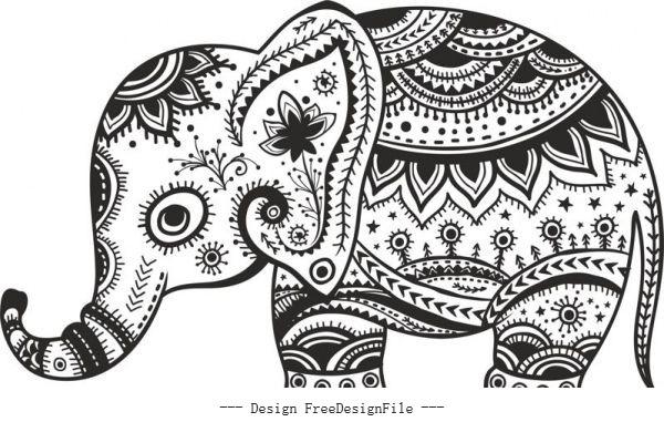 Retro floral elephant free cdrs art vector