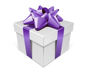 Ribbon packing box gift vector