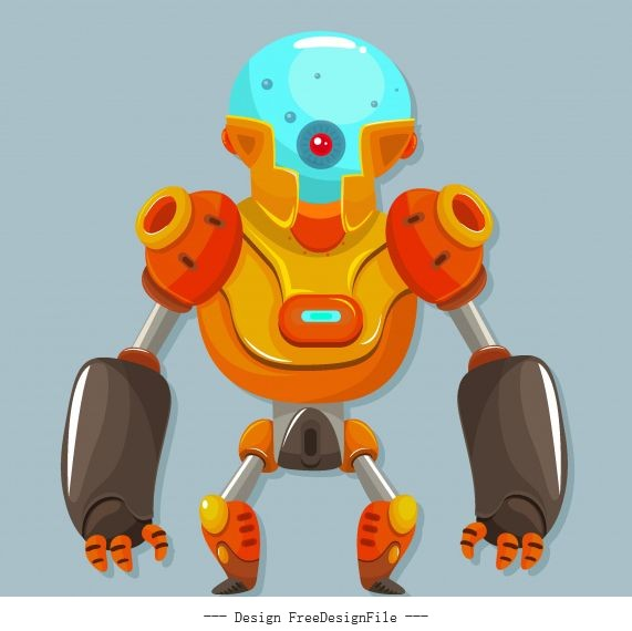 Robot frightening appearance contemporary vector