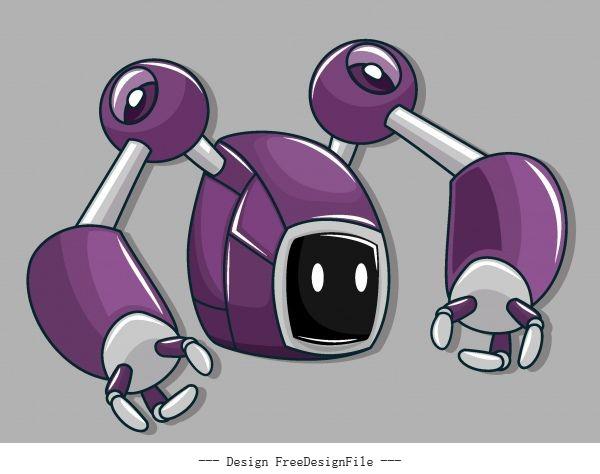 Robot modern violet grey vector