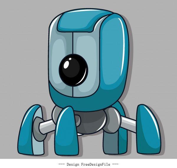 Robot shiny modern multi legs shape vector