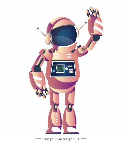 Robot welcoming gesture humanoid shape cartoon vector