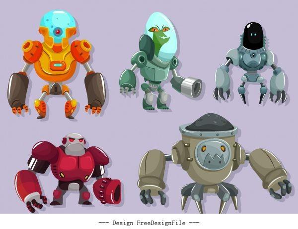 Robot icons modern cartoon vector graphics