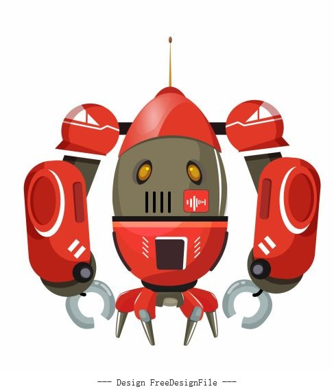 Robot model shiny colored vector