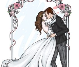 Romantic wedding character template vector