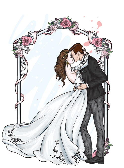 Romantic wedding character template vector