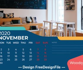 Room furniture background calendar 2020 vector