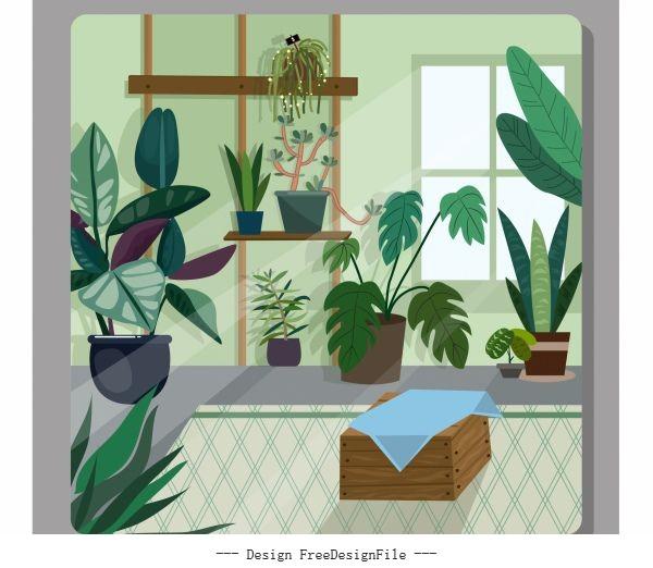 Room decor template houseplant sketch classic vector