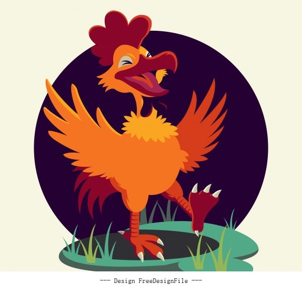 Rooster funny cartoon character vector