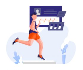 Running fitness cartoon illustration vector