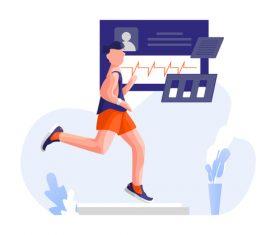 Running fitness cartoon illustration vector
