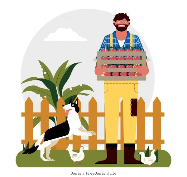 Rural life background farmer dog farmer chicken illustration vector