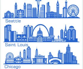 Saint louis and other cities building silhouette vector
