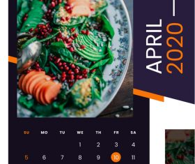 Salad food 2020 calendar vector