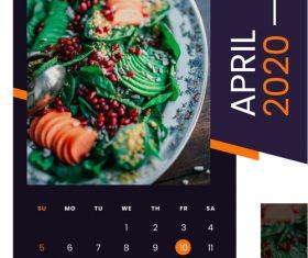 Salad food 2020 calendar vector