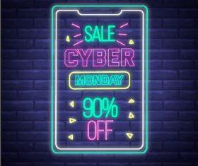 Sale neon billboard vector