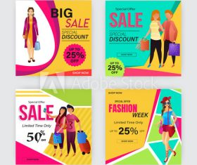 Sale template with different discounts vector
