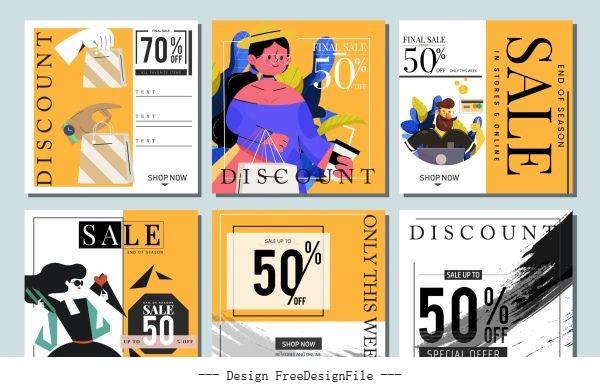 Sale banner templates colored classical vectors