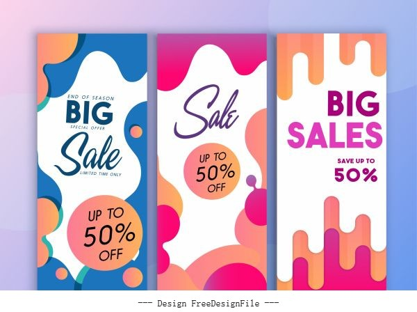 Sale banner templates colorful abstract flat deformed vector set
