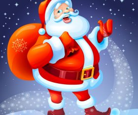 Santa Christmas funny in red suit with gifts vector