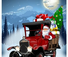 Santa Claus driving a gift vector
