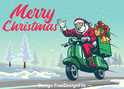 Santa Claus on motorcycle Christmas vintage illustration vector