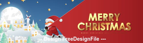 Santa Claus pulling celebration Christmas banner vector