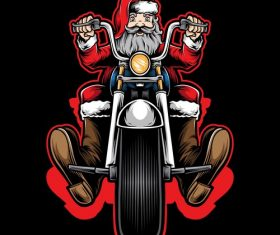 Santa Claus riding a motorcycle vector