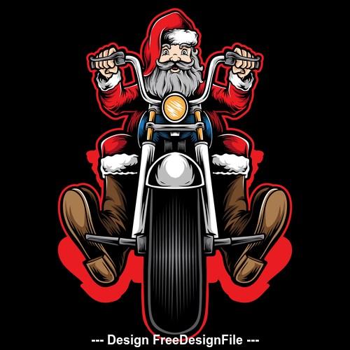 Santa Claus riding a motorcycle vector