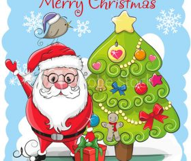 Santa and christmas tree cartoon vector