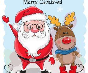 Santa and elk cartoon vector