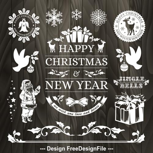 Santa and gift new year greeting card vector