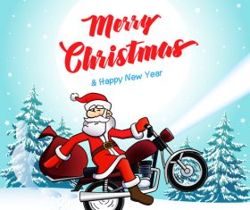 Santa biker merry christmas new year winter card vector