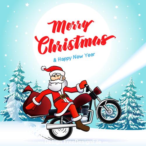 Santa biker merry christmas new year winter card vector